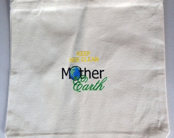 "Mother Earth tote bag  13"" x 13"" canvas"