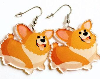 Cute Corgi Earrings, cute dog earrings, pembroke welsh corgi, cardigan welsh corgi, dog lovers, corgis, corgies, kawaii, surgical steel,