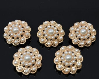 5 Pcs Rose GOLD Rhinestone Pearl buttons gold button Crystal Embellishment flower centers Headbands invitation Jewelry supply -  RNK92