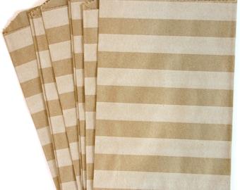 10 Horizontal Stripe White on Brown Medium Paper Food Safe Craft Favor Bags