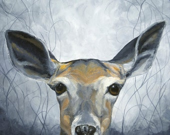 White-Tailed Deer during twilight giclée print from original painting