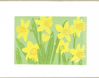 Spring Narcissus - Original Limited Edition Linocut Reduction Print