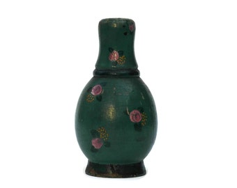 French Art Deco Powder Jar. Hand Painted Wood Talc Powder Shaker. Talc Bottle. Green and Pink French Boudoir Decor.