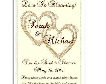 24 Double Heart Seed Favors