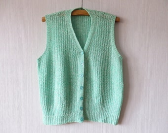 Mint Green Sweater Vest Button Up Knit Pullover Waistcoat Hand Made XL Large Size