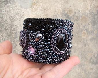 Agate cuff bracelet  Bead embroidered bracelet  Black  Wide beaded cuff  Bohemian Cuff  Birthstone jewelry - FREE SHIPPING