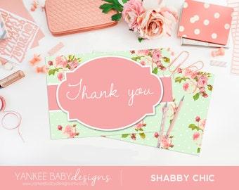 PRINTABLE Shabby Chic - Green Polka Dot - FOLDED Thank You Card