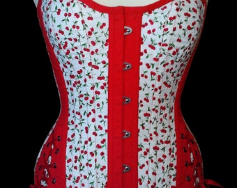 Overbust corset spring cotton printed small cherries with side lacing