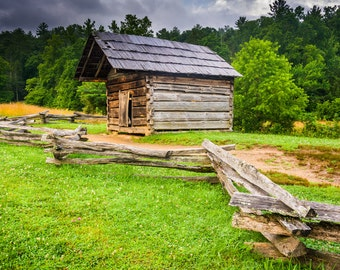 Fence and old log cabin at Cade's Cove, Great Smoky Mountains National Park, Tennessee - Photography Fine Art Print or Wrapped Canvas