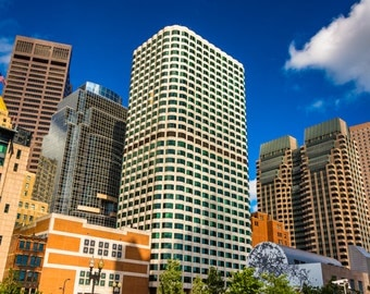 Cluster of skyscrapers in Boston, Massachusetts - Urban Photography Fine Art Print or Wrapped Canvas