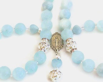 AQUAMARINE and STERLING SILVER Rosary, Catholic Gifts, Swarovski Crystal & Aquamarine Rosary, Religious Gifts, High Quality Aquamarine