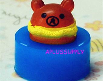 GYL094 Bear Bread / Sandwhich Silicone Mold Flexible Mold Animal Mold Kawaii Miniature Sweets Earrings Fimo Polymer Clay Mold
