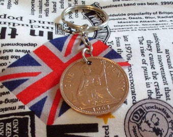 1964 1d 1d Old Penny English Coin Keyring Key Chain Fob Queen Elizabeth II