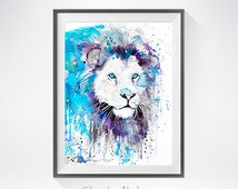 White Lion watercolor painting print, Lion art, animal watercolor, animal illustration, Lion illustration, Lion poster, art print, cat art
