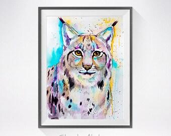 Lynx watercolor painting print, Lynx illustration, animal watercolor, Lynx art,animal illustration,cat art,animal painting, big cat