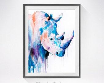 Rhino watercolor painting print, Rhinoceros art, safari art, safari animal, illustration, animal watercolor, animal poster, Rhino art