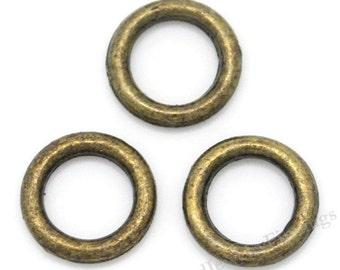 Soldered  Closed Bronze Jumprings  - Antique Bronze Findings - 6mm jumprings  -  Jewelry making supplies - SR07