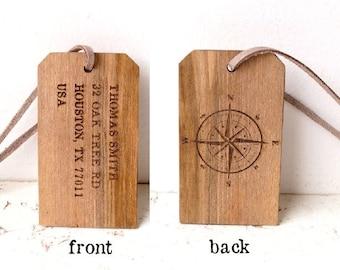 Personalized luggage tag, wooden luggage tag, luxury walnut custom engraved luggage tag, wedding gift, 5th year anniversary gift