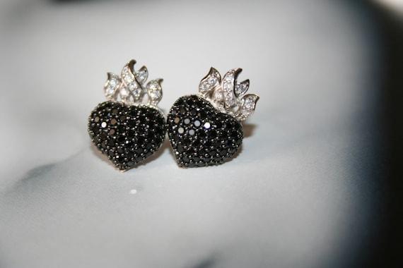 Heart earrings, stud earrings, sterling silver, silver 925 Hearts on fire stud earrings with zircon micropave