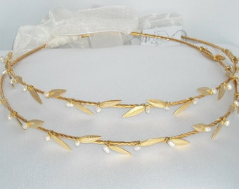 STEFANA Greek Crowns Ancient Greek Style Gold Plated Olive Leafs Orthodox Wedding Stephana