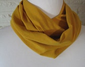 SV063 SMALL Solid Gold Mustard Yellow Baby Toddler Kids Infinity loop Scarf - Soft Jersey Knit