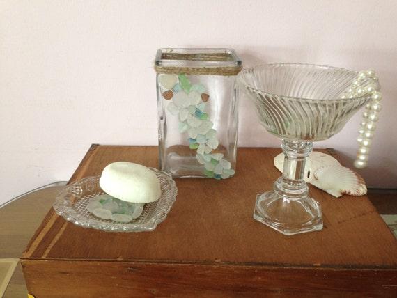 Sea Glass Bath Set Soap Dish Toothbrush By Annmariefamilytree