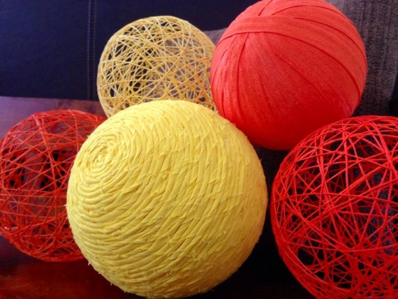 Autumn morning large decorative balls yarn