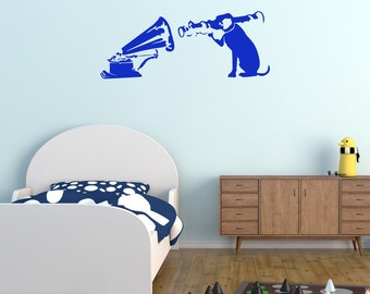 Banksy Wall Decal - Blow Up Your Stereo - Banksy Sticker - Banksy Art - Gifts For Him - Dog Wall Decals - Dog Stickers - BA015