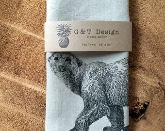 Polar Bear Screen Printed Tea Towel, 100%Natural Linen, Hostess Gift, Wedding Gift ,Mothers Day, kitchen Towel