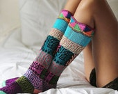 Hand knitted multicolor long socks,Peruvian Treasures,Unisex Peru knitted socks,Wool mixed fibers socks,warm hand made socks,multicolor sock