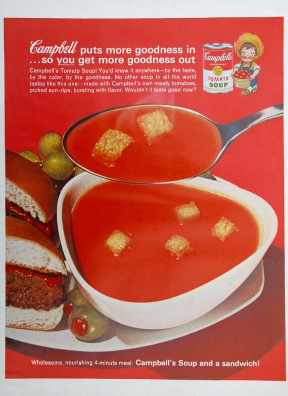 1960s campbell 39 s tomato soup ad food vintage by advintagecom. Black Bedroom Furniture Sets. Home Design Ideas