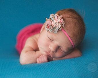 Flower Headband, Pink Headband, Pink Flower, Pink Floral Headband, Floral Print Flower, Baby Headband, Newborn Headband, Photography Prop