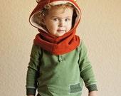 Children Fox Scarf, Fox Hat, Kids Hooded Scarf, Fox Costume Hat