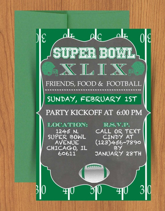 Chalkboard super bowl invitation editable by mydiydesigns for Super bowl party invitation template