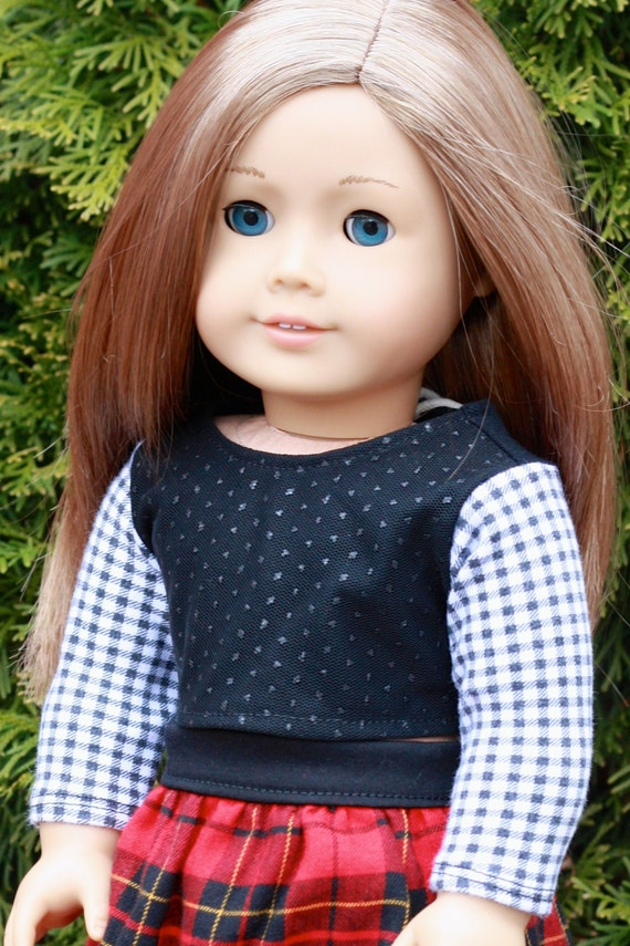 American Girl Doll Clothes - 18 Inch Sparkle Mesh Overlay Checkered Long Sleeve TEE Top