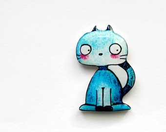 Cat brooch Cat jewelry Cat gifts for her Birthday gift for girlfriend Valentines day gift Girlfriend gift Anniversary gifts for friends blue
