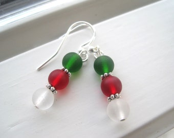 Christmas Earrings - Christmas Jewelry - Recycled Glass Earrings - Green White Red Jewelry - Holiday Jewelry - Holiday Earrings