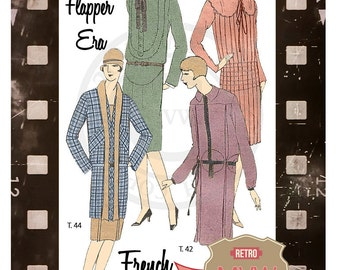 1920s Dresses French Sewing Pattern - PDF Sewing Pattern -  Instant Download