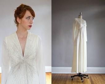 Vintage 1970's Silver Starburst Beaded Gown / Wedding / Formal / S