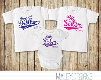 Personalized Set of Three Sibling Shirts, Biggest Brother Big Sister Little Sister, You Pick the Text, Name, Color, & Year!