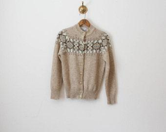 vintage 70s scotland wool cardigan