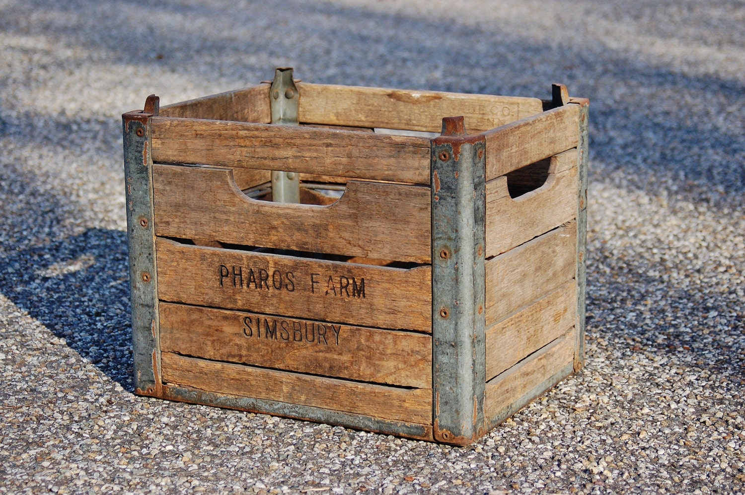 Wood metal milk crate box industrial wood by for Where can i buy wooden milk crates