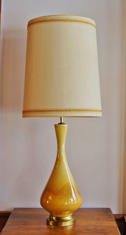 Ceramic Table Lamps : Mid century ceramic lamp danish modern yellow caramel drip