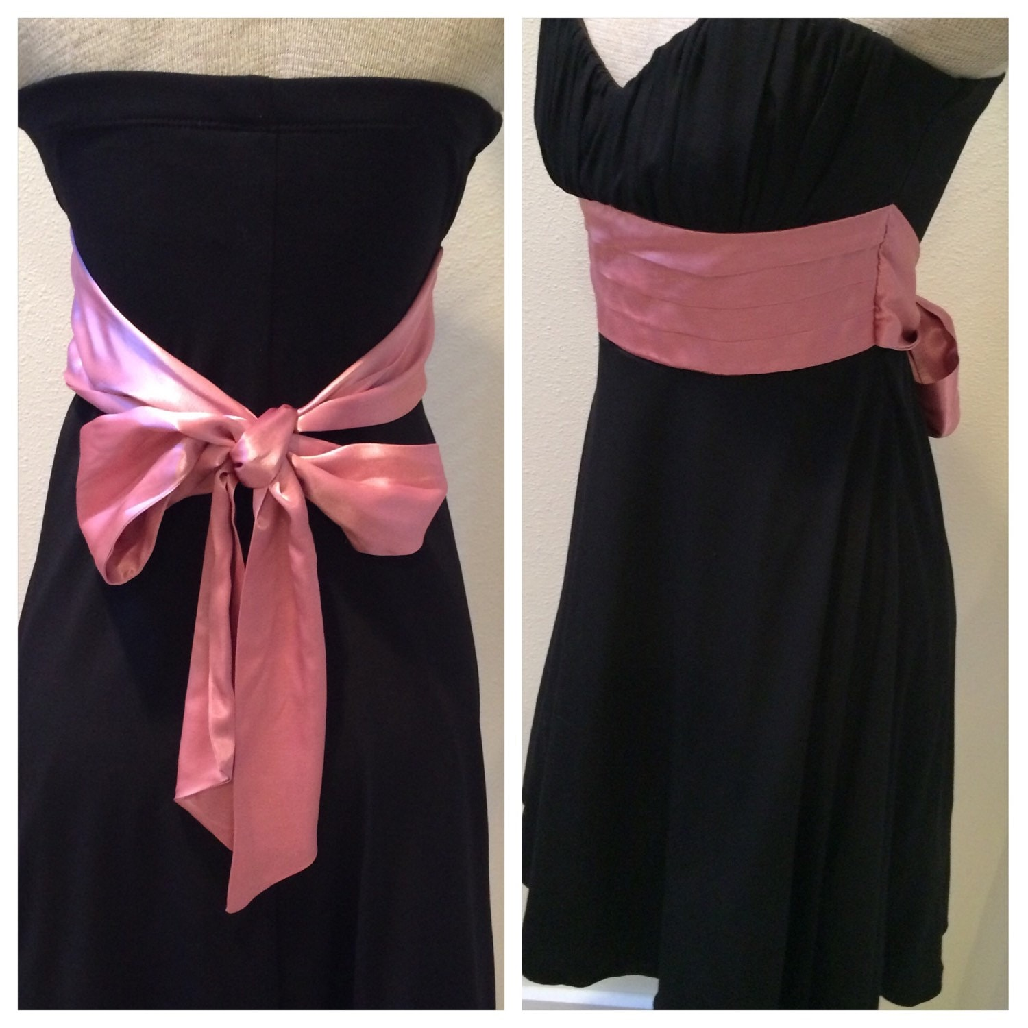 black sleeveless with pink sash belt dress by speechless