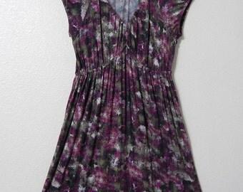 Daisy Fuentes Womens Small Soft Knit Purple + Green Peasant Dress