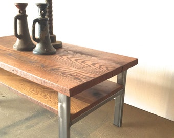 Reclaimed Wood and Metal Coffee Table / High Storage Shelf