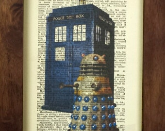 upcycled vintage dictionary art print Dr Who and Dalek on hand cut 1950's Oxford dictionary pages