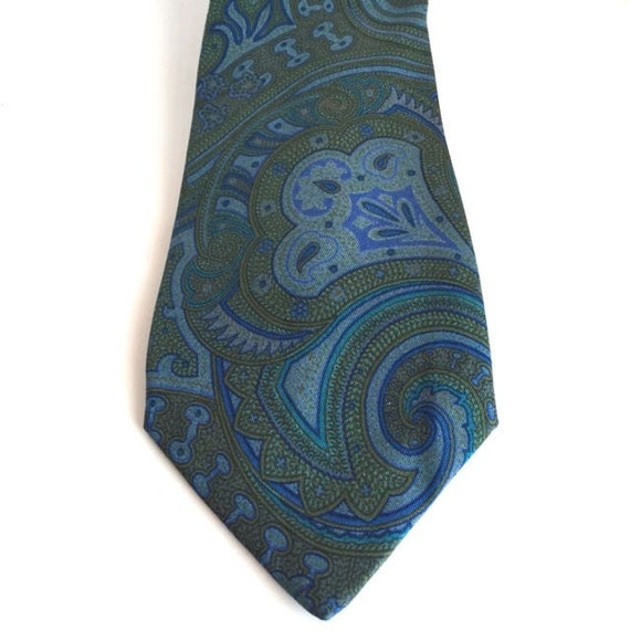 Blue And Green Paisley Tie