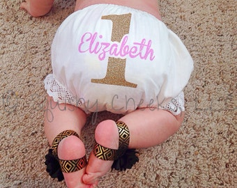 1st Birthday Bloomers, Baby Girl Bloomers, CHOOSE YOUR COLORS, Customized Diaper Cover, Adorable No-Shed Glitter Design, 1st Birthday Outfit