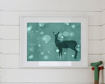 Doe Silhouette Print 8 x 10, Dear Art, Silver, Print Series, Nursery Decor, Winter Print, Woodland Decor, Forest, Rustic Decor